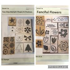 Stampin Up Set of 2 Two Step Shapes & Shadows & Fanciful Flowers Unmounted Stamp