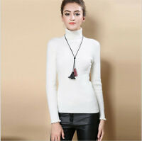 NEW Fashion Turtleneck Cashmere Sweater Women Knitted Sweaters Pullovers White