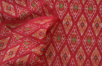 "Silk Cotton Blend  Deep Red Ikat Hand Woven Soft Fabric 44"" Wide Natural Fiber"