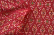 """Silk Cotton Blend  Deep Red Ikat Hand Woven Soft Fabric 44"""" Wide Natural Fiber"""
