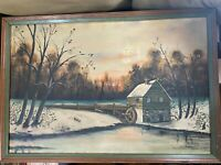 "Huge Vintage Richards ""Watermill in Winter Scene"" Oil Painting - Signed/Framed"