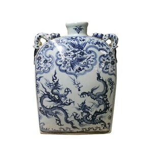 Chinese Blue White Porcelain Dragons Phoenix Square Flat Vase ws1097