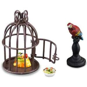 MINIATURE DOLLHOUSE 1:12 SCALE REUTTER PARROT IN CAGE - 1.681/6