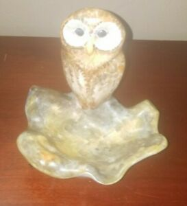 Handcrafted Pottery Owl Ashtray Figurine -  France