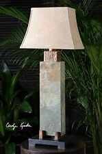 """STATELY 37"""" CARVED SLATE TABLE LAMP HAMMERED COPPER ACCENTS INDOOR OUTDOOR LIGHT"""