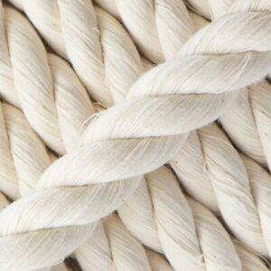 4mm Baumwolle Seil 100% Natürlich 3 Strand Verdreht Schlingen Schnur Viele Länge