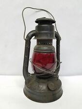 Vintage Dietz Little Giant Electric Lamp Lantern Little Wizard Red Globe Free SH
