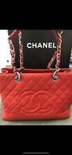 CHANEL Red Quilted Caviar Leather Grand Shopping Tote Bag Excellent Condition