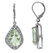 HUGE 9.3ct. Green Amethyst & White Topaz 925 Sterling Silver Leverback Earrings