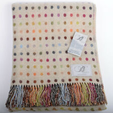 PURE MERINO LAMBSWOOL THROW BLANKET-BRONTE - Beige/MULTI SPOT - REVERSIBLE