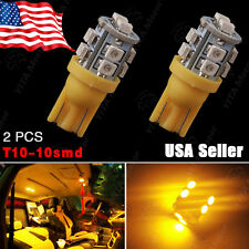 2X Amber Yellow Wedge Side T10 W5W 10-SMD LED Backup Light 158 168 192 194