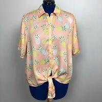Tipsy Elves Women's Size XXL Pina Colada Pineapples Hawaiian Button Down Shirt