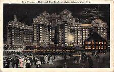 New Jersey, Atlantic City, New Traymore Hotel and Broadwalk at Night