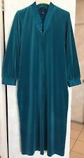 Womens Charter Club Long Velour Robe Zip Front Long Sleeve Spruce Green Sz M