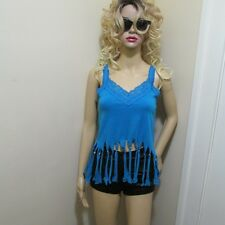 DiY UPCYCLED OOAK Sexy Hand beaded FRINGED Lacey Hot V Turquoise tank top Xs