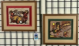 PAIR OF ACRYLICS ON BIRCH BARK   GOYCE KAKEGAMIC WOODLAND ART