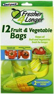 12 Sealapack Fruit & Vegetable Bags Fresh For Longer Storage Food Bag 2 Sizes