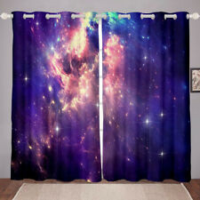 2 Panels Starry Sky Window Curtain Outer Space Drapes Blackout Living Room Decor