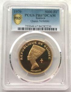 Guinea 1970 Queen Nefertiti 5000 Francs PCGS PR67 Gold Coin,Proof