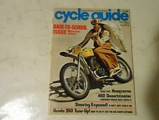 OCTOBER 1973 CYCLE GUIDE MAGAZINE,HUSKY 430 DESERTMASTER,HONDA 350 TUNE-UP,HONDA
