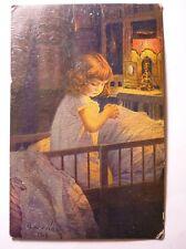 Antique Bulgarian Postcard Little Girl In Bed 1919