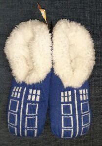 BBC DOCTOR WHO TARDIS Cozy Fluffy Slippers Socks Anti Slip Soles Shoe Size 4-10