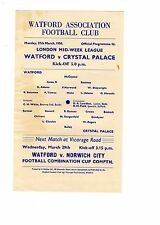 Watford v Crystal Palace Reserves Programme 27.3.1950 London Midweek League