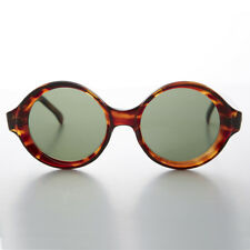 Round Tortoiseshell Vintage Sunglass with Beveled Edge Frame Green Lens - Trudy