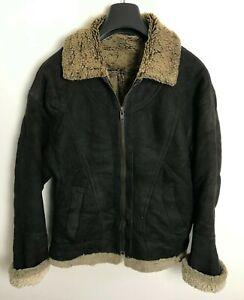 Shearling Leather Sheepskin lined Jacket / Coat Womens 10/12 Black Flight