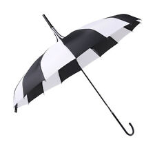 Black White Pagoda Parasol Vintage Bridal Wedding Party Sun Rain UV Umbrella