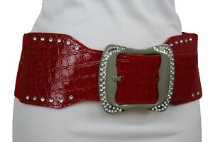 Women Fashion Red Faux Leather Belt Hip High Waist Silver Metal Buckle Plus M L