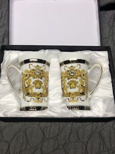 2 Pc-Versace Inspired-Ikarus-Black/Gold Greek Key Design-Tall Coffee Cups