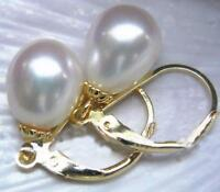 Gorgeous AAA 10-12mm real natural south sea white pearl earrings 14k Yellow Gold