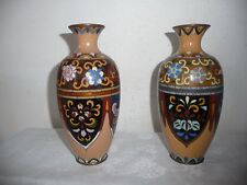 ANTIQUE PAIR MATCHING CLOISONNE VASES MEIJI 19th cent. PHOENIXES FLOWERS