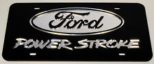 Power stroke Chrome Mirror License Plate Auto Tag Ford Turbo Diesel