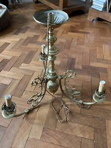 Victorian Heavy Brass Ornate Chandelier. 3 Arm. Gas Converted To Electric.