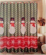 "Christmas Fair Isle Snowman SHOWER CURTAIN & Snowflake HOOKS set Fabric 70 X 72"""