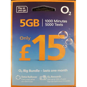 O2 Sim Card Pay As You Go £15 Bundle 3 in 1 Micro Nano PAYG 5GB DATA ROLLOVER 02