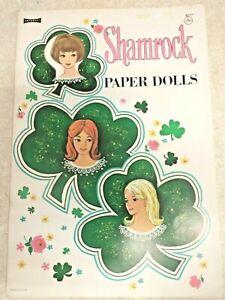 Vintage UNCUT 1960's SHAMROCK Paper Dolls Original NOT a reproduction