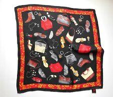 Vintage Brighton 100% Silk Square Scarf Black & Red w Cute Handbag Print 21 x 21