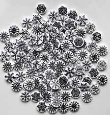 50 BLACK & WHITE WOODEN ROUND BUTTONS CRAFT SEWING SCRAPBOOKING EMBELLISHMENTS