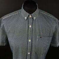 Tommy Hilfiger Mens Shirt MEDIUM Short Sleeve Blue Regular Fit Striped Cotton