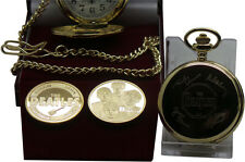 SIGNED THE BEATLES  Gold Pocket Watch and Coin Luxury Gift Set  Case Autographs