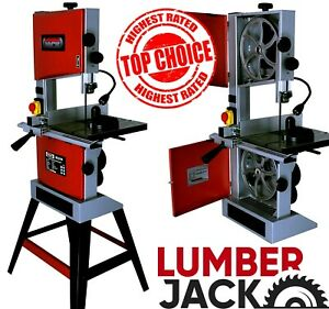 """Lumberjack 10"""" Professional Bandsaw Cast Table Solid Fence Stand & Blade 240v"""