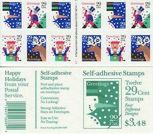HOLIDAY GREETINGS STAMP BOOKLET -- USA #2799-2802a 29 CENT CHRISTMAS
