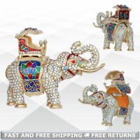 Elephant Animal Miniature Jewelry Trinket Box with Hinged Lid Bejeweled Crystals
