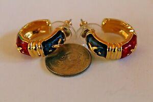 "JOAN RIVERS GOLDTONE RED,GREEN,BLUE ENAMEL SEMI HOOP STUD EARRINGS 7/8 X 1 1/8"""