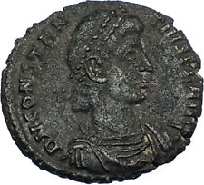 CONSTANTIUS II 348AD Authentic Ancient Roman LEGIONARY BATTLE SCENE Coin i65796