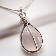 Rose Quartz Teardrop 925 Sterling Silver Pendant Corona Sun Jewelry