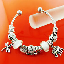 BRACELET BANGLE REAL 925 STERLING SILVER SF SOLID BEAD CUFF CHARM DESIGN FS3B009